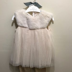Girls Dress Up Ivory Cloud With Faux Down Fur